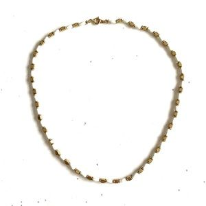 Vintage White Gold Beaded Necklace